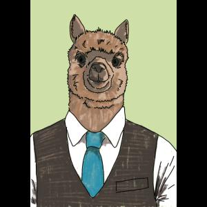 alpaka in a suit