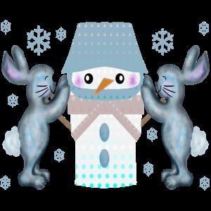 Schneehasen Schneemann bauen Hasen ILLUSTRATION