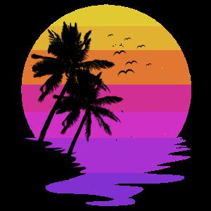 Urlaub Sommer Sonne Vintage Retro Ferien Palmen