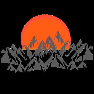 Sonnenuntergang mit bergen, natur