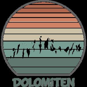 Dolomiten in Retro Längsstreifen Optik