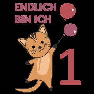 Endlich 1 Katze rote Luftballons süße Kätzchen