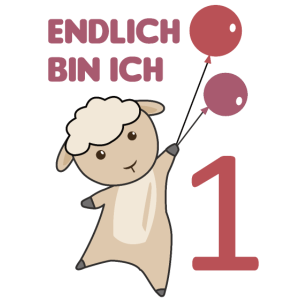 Endlich 1 Schaf rote Luftballons süße Tiere Baby