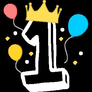 Zahl 1 mit einer Krone und Ballons