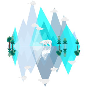 Verkehrte Welt - Blaue Eis Berge mit Eisbär Elch