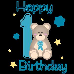 1. Happy Birthday mit Teddybär und Sternen