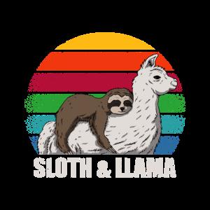 Faultier und Lama Retro