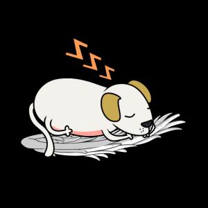 Müde Hund himmlisch schlafen Engelsflügel