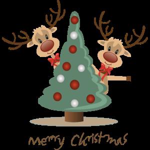 Süße Elche Weihnachtsbaum Merry Christmas