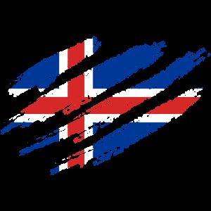 Island Flagge Kratzer Krallen Isländische Flagge