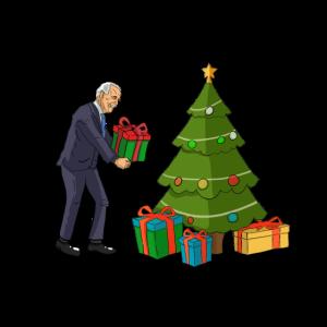 Joe Biden platziert Geschenke unter dem Baum