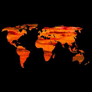 Weltkarte Worldmap rotes Meer Lava