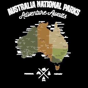 Australien national Parks Karte, Abenteuer Urlaub