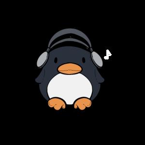Nette Pinguin-Kopfhörer Musik und Pinguin-Liebhabe