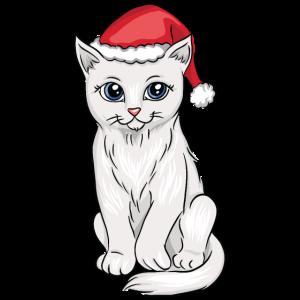 Katze, die Weihnachtsmütze Weihnachten trägt
