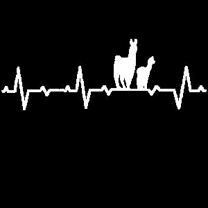 Lama Geschenkidee Alpaka Herzschlag Tiere