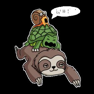 Sloth Turtle Snail Running wild Piggyback Geschenk