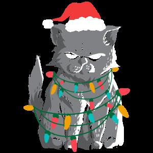Mürrische Weihnachtskatze Weihnachtslichter Geschenkidee
