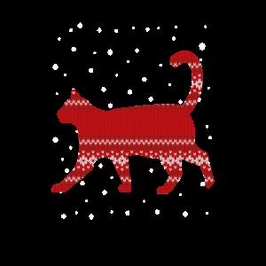 Weihnachtskatze mit weihnachtlichen Muster