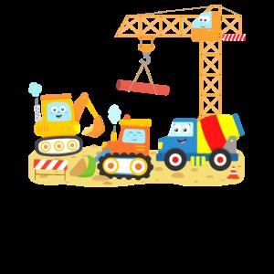Baustelle Bulldozer Kran Bagger LKW Kind Kleinkind