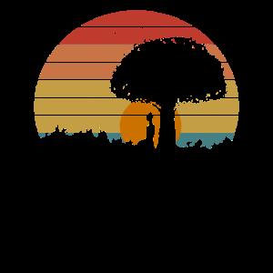 Retro Yoga Sunset Sonnenuntergang Baum