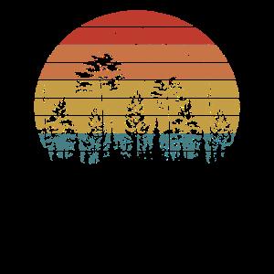 Retro Wald Natur Sonnenuntergang Baum Jäger