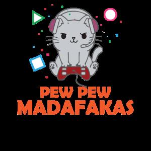 Pew Pew Funny Cat Gaming Cat