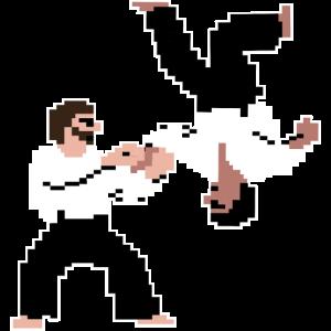 Aikdo Retrogame Pixelart T-Shirt für den Aikidoka