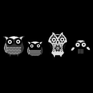 Eulen, schwarz, comic, Familie, illustration,weiss