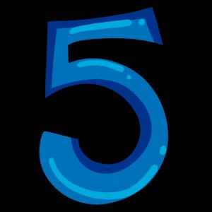Ziffer 5 Nummer Fünf Zahl in Blau