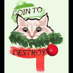 Katze zerstört weihnachtsbaum