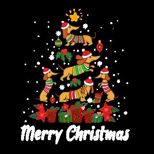 Cute Dachshund Christmas Tree Funny Dog Lover Gif