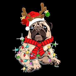 Pug Dog Christmas Funny Pug Lover Reindeer Christm