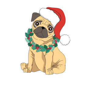 Santa Pug Christmas Hat Dog Lover Funny Xmas Holly
