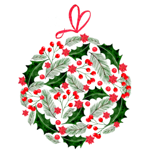 Christmas Ornament Clipart, floral Christmas