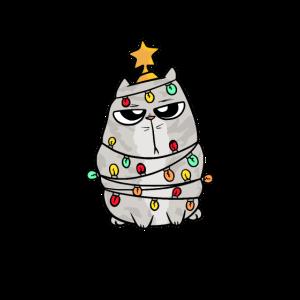 Lass mich Katze Lichterkette Weihnachten Geschenk