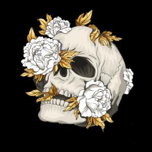 Totenkopf Schädel Skull mit Blumen Geschenkidee