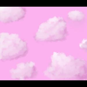 Rosa Himmel mit flauschigen Wolken