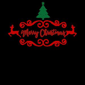 Merry Christmas Tree Reindeers Christmas Present