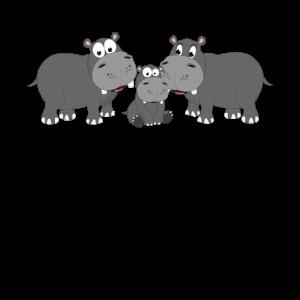 Kinder Hippo Nilpferd Familie Motiv