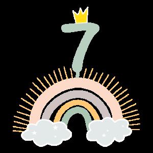 7. Geburtstag Regenbogen Kind Geschenk Krone