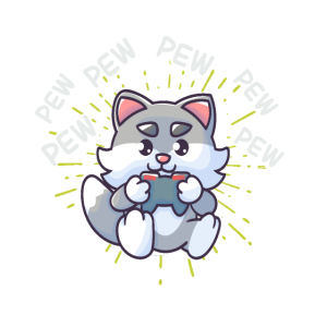 Pew Pew Gaming Cat Katze Videogame Zocken Konsole