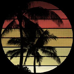 Vintage Sonnenuntergang Palmen
