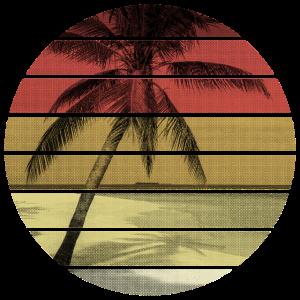 Retro Sonnenuntergang Palme