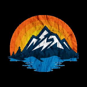 Berge Sonne Natur und Meer Retro