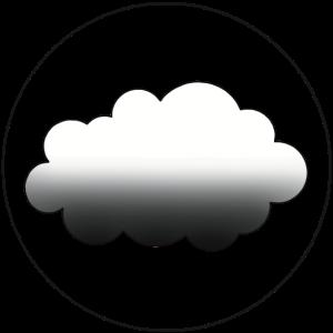 Weiß-schwarze Wolke mit schwarzem Kreis