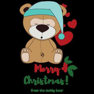 Süsser Teddybär feiert Weihnachten