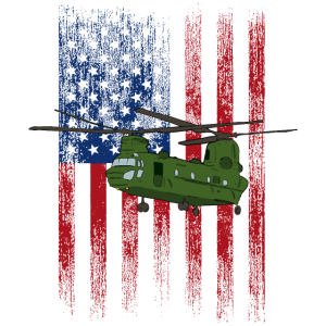 American Flag Patriotic CH-47 Chinook Helicopter