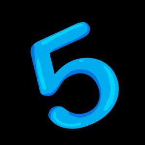 Ziffer 5 in hellblau
