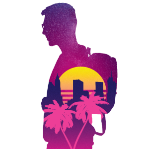 Synthwave Vaporwave Sonnenuntergang Palme Miami